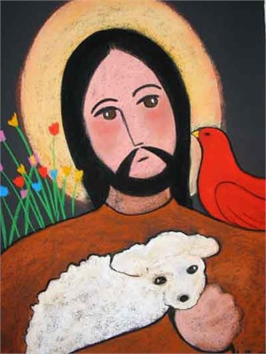 SOLD 'St. Francis and Little Lamb'