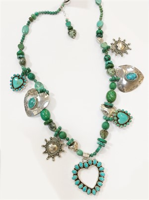 KY 1327-Single Strand Sterling with Turquoise Pendent- Turq, Pure Silver, Carved, Silver Beads and Charms, 2019