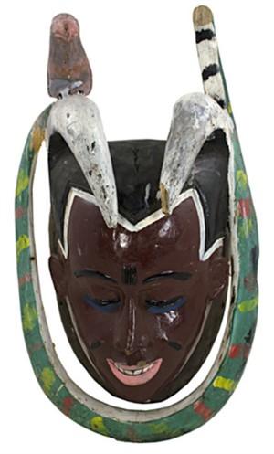 Guro Dance Mask-Ivory Coast (Snake-protection, Bird-good luck), c1980