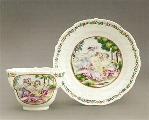 LARGE FAMILLE ROSE TEACUP AND SAUCER WITH CUPID AN PSYCHE, Chinese, circa 1745