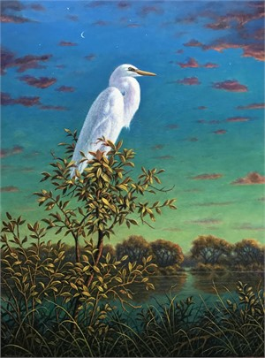 White Egret with Crescent Moon