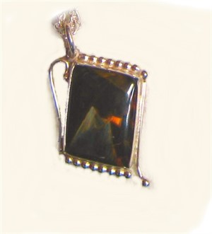 Sterling Silver with Pietersite Pendant on Chain., 2018