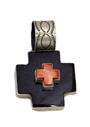 Pendant - Sterling Silver Double Cross Onyx & Spiny Oyster