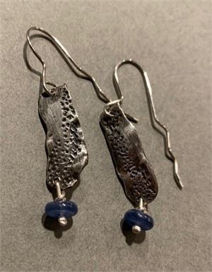 Earrings - Waterfalls - fine silver with blue kyanite beads  ADC019, 2018