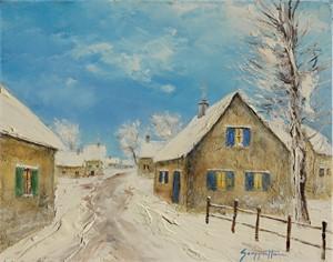 Farm Houses Under Snow