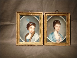PAIR OF REVERSE PAINTINGS ON GLASS WITH EUROPEAN LADY IN A MEDALLION, Chinese, circa 1770
