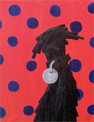 Black Dog with Blue Polka Dots
