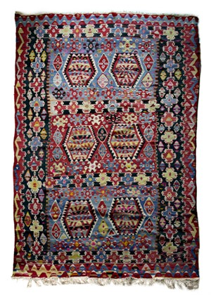 Kilim Rug (red, black), Mid 20th cent.