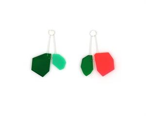 Pink and Green Molecule Post Earrings