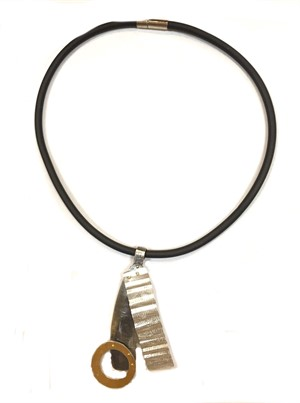 Necklace - Black Rubber Cable w/ 3 pc ss/24kt/ss Pendant #17, 2019