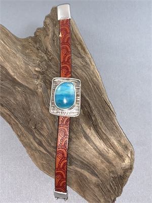 Bracelet - Peruvian Opal, Sterling Silver, Leather With Magnetic Clasp AS 062, 2019