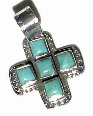 Pendant - Small turquoise square Cross in Sterling Silver