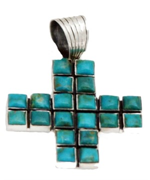 Pendant - Sterling Silver Turquoise Cross   15771576
