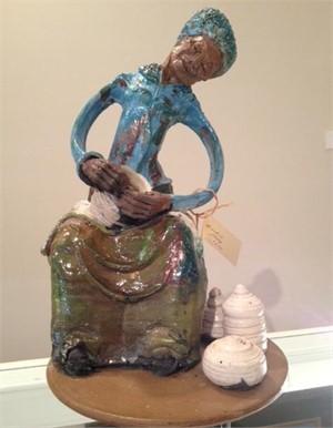Raku Sculpture - Gullah Lady