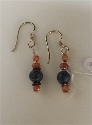 Earrings - Garnet, Lapis & Sterling    #287, 2020