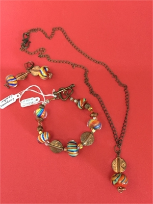 Necklace - Bracelet & Earrings - Lampwork Beads With Copper  #542, 2020