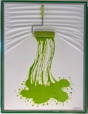 """""""Let's Paint"""" Roller, Green splash on White, 2019"""