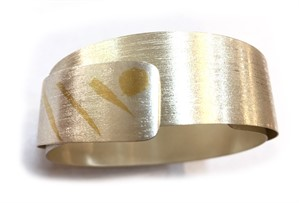 "Narrow ""Sleeky"" Stainless Cuff w/ 24 kt Gold Keumn Boo #6, 2019"