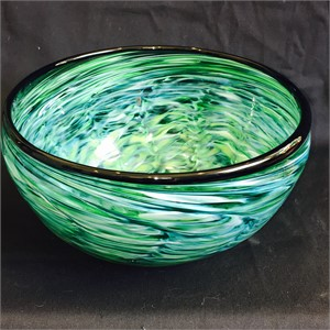 Swirl Pattern Dark Lip Large Bowl