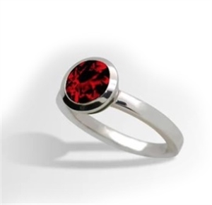 Ring-Bezel set Sterling Silver and Garnet/ size 7.5
