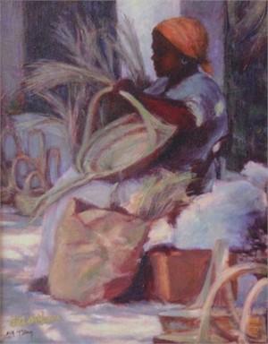 Basket Lady with Orange Kerchief