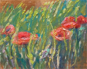 Italian Poppies on Gold One