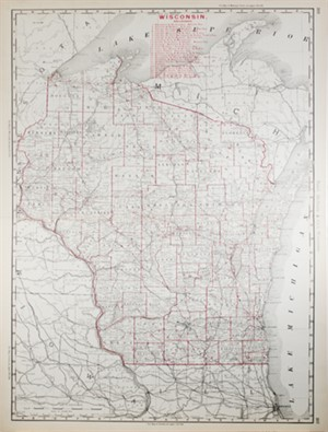 Map of Wisconsin Railroads, 1895