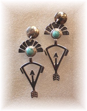 Sterling Silver Spirit Chaser Hunter w/ Turquoise Earrings , 2018
