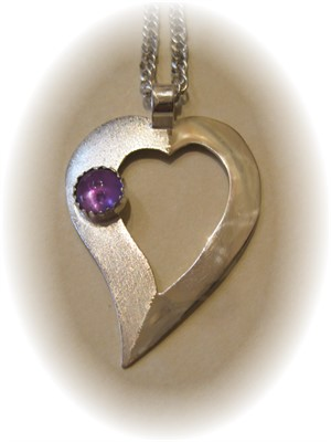 Open Heart with Amethyst in Sterling Silver Pendant on Chain, 2018