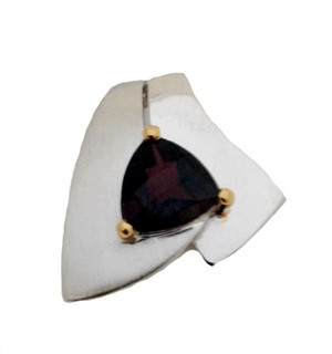 Pendant - Garnet & Sterling Silver with 14Kt