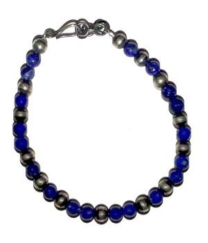Bracelet - Lapis & Sterling Silver Beads