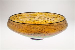 Gold Luster Large Low Bowl-S