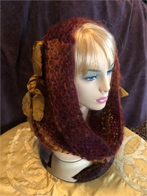"Red Rust & Gold Mohair,Silk - hooded Cowl ""O/S"""