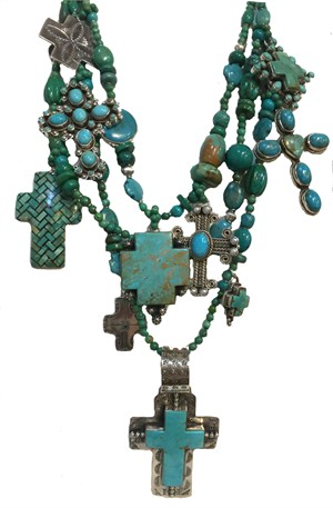 KY 1240 Three strand Necklace with Turquoise Cross