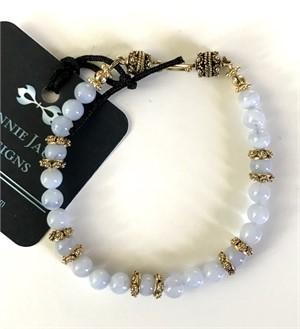 Bracelet - Blue Chalcedony & Gold Vermeil  #8017, 2019