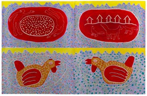Chickens and Landscape in Red