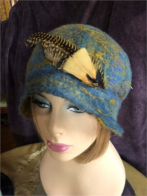 "Blue Cloche with Feather ""M"""
