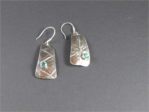 Earrings - Fold formed sterling silver set with 5mm lab grown green garnet yag  AS 024, 2018