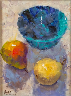 Blue Bowl with Pears
