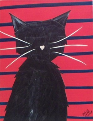 Black Cat on LIne up wall
