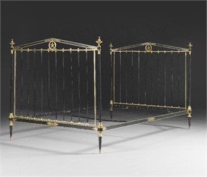 FRENCH GILT-BRONZE MOUNTED PARCEL-GILT AND BLACK PAINTED STEEL BED, French, 20th century