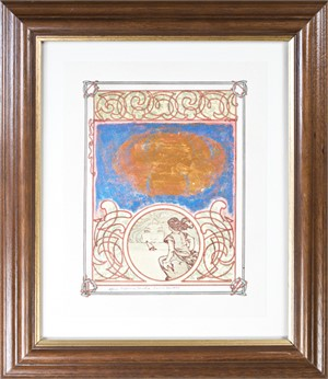 Famous Artist Series:Homage to Mucha by David Barnett From Princess of Tripoli-Sunrise Sailing Vision With Iridescent Copper Cloud In Blue Sky, 2005