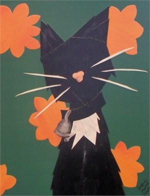 Black Cat with Orange Flowers