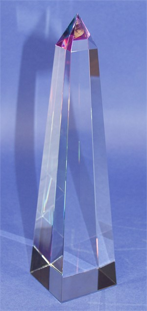 "Crystal Conical Obelisk Sculpture 08""-S."