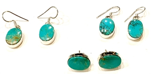 Earrings - Turquoise Oval Wire, 2020