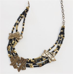 Necklace - Old Fencing Black & brass - Overlapping bronze plank center & side panels are separated by black glass & various brass beads,  31565, 2019