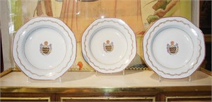 SET OF THREE ARMORIAL SOUP BOWLS WITH ARMS OF BLUNT