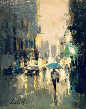 Rainy CityScape Skyblue Umbrella
