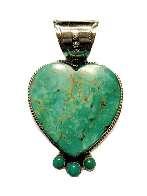 Pendant - Turquoise Heart with Three Points of Turquoise