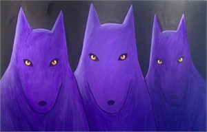 SOLD 'Three Purple Wolves'